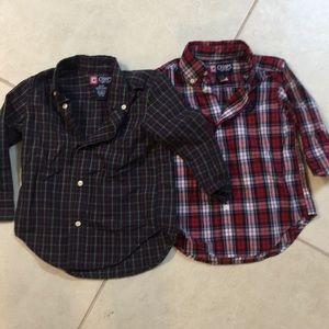 Boys holiday plaid button down shirts